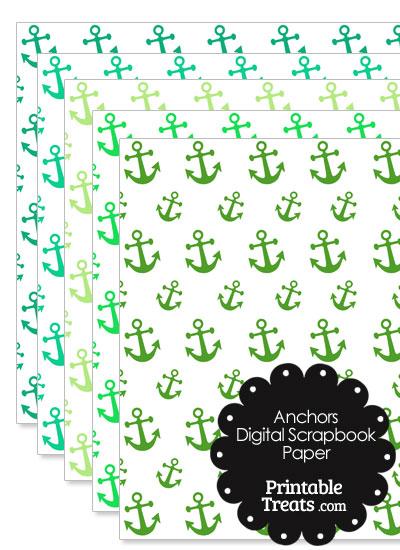 Green Anchor Digital Scrapbook Paper from PrintableTreats.com