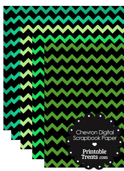Green and Black Chevron Digital Scrapbook Paper from PrintableTreats.com
