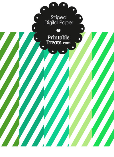 Green and White Diagonal Striped Digital Scrapbook Paper from PrintableTreats.com