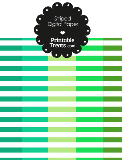 Green and White Horizontal Striped Digital Scrapbook Paper from PrintableTreats.com