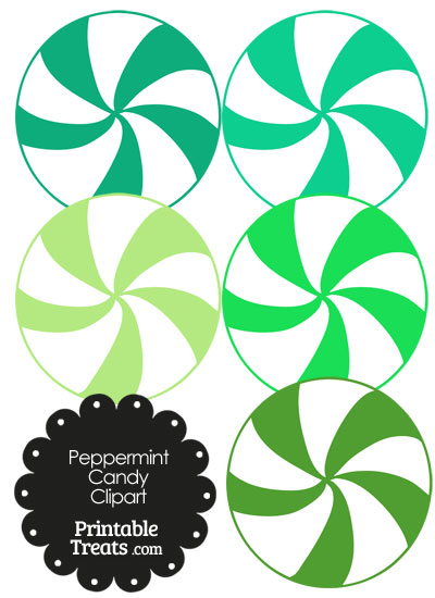 Green and White Peppermint Candy Clipart from PrintableTreats.com