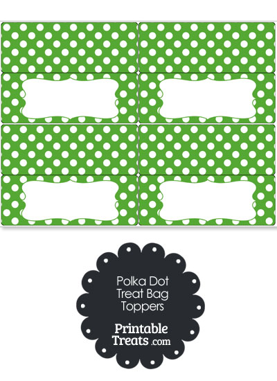 Green and White Polka Dot Treat Bag Toppers from PrintableTreats.com