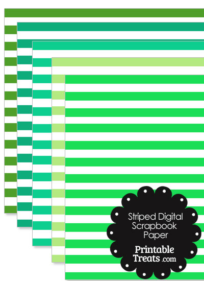 Green and White Striped Digital Scrapbook Paper from PrintableTreats.com