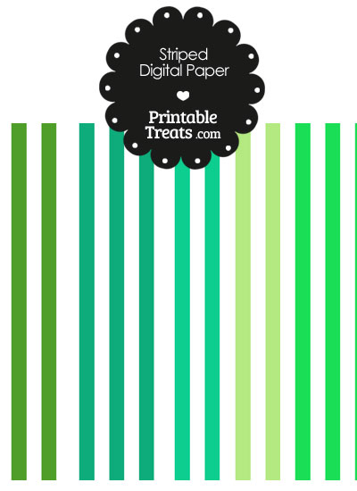 Green and White Vertical Striped Digital Scrapbook Paper from PrintableTreats.com