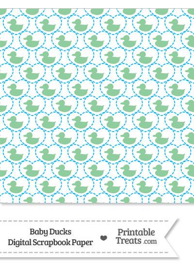Green Baby Ducks Digital Scrapbook Paper from PrintableTreats.com