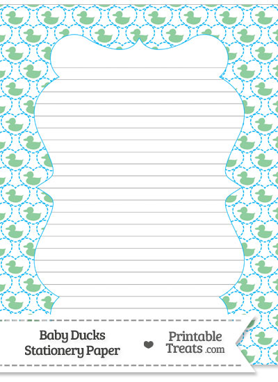 Green Baby Ducks Stationery Paper from PrintableTreats.com