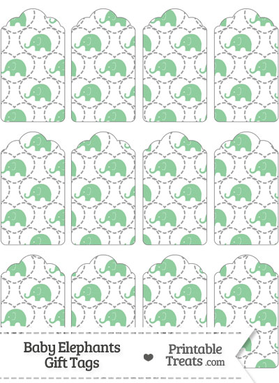 Green Baby Elephants Gift Tags from PrintableTreats.com