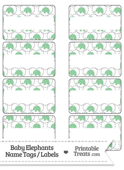 Green Baby Elephants Name Tags from PrintableTreats.com