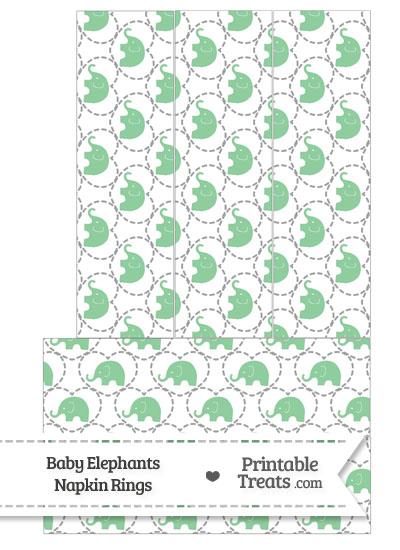 Green Baby Elephants Napkin Rings from PrintableTreats.com
