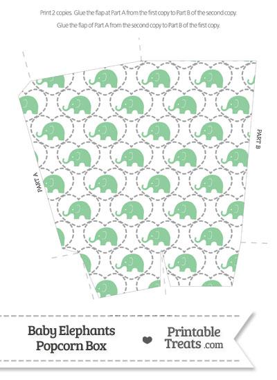 Green Baby Elephants Popcorn Box from PrintableTreats.com
