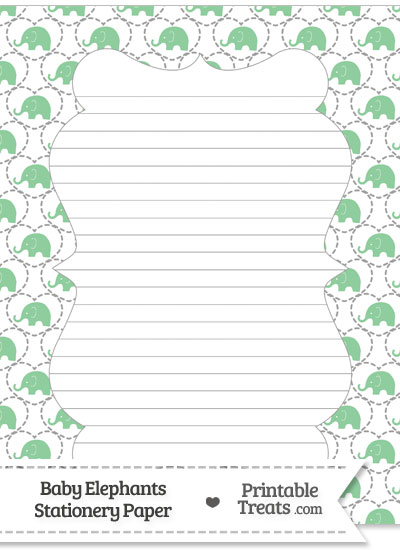 Green Baby Elephants Stationery Paper from PrintableTreats.com