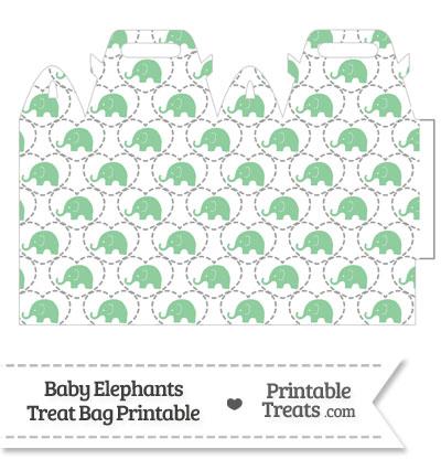 Green Baby Elephants Treat Bag from PrintableTreats.com