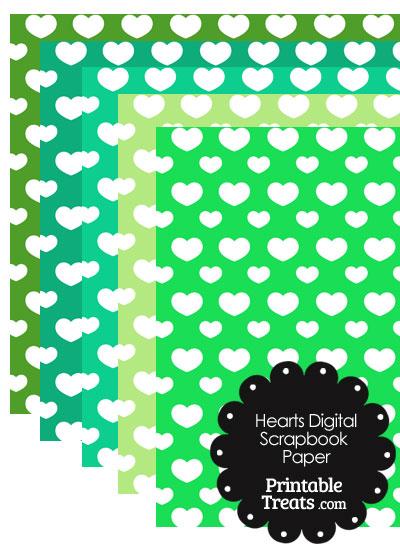 Green Background Heart Digital Scrapbook Paper from PrintableTreats.com