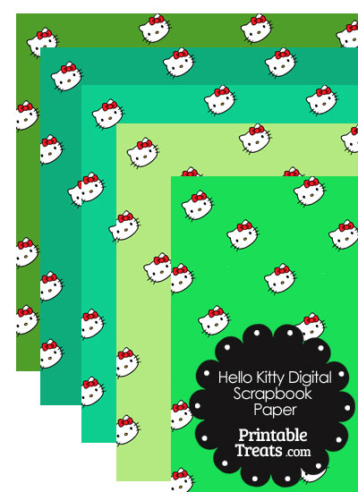 Green Background Hello Kitty Digital Scrapbook Paper from PrintableTreats.com