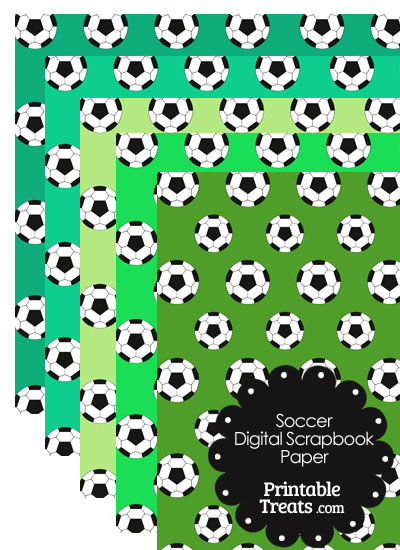 Green Background Soccer Digital Scrapbook Paper from PrintableTreats.com