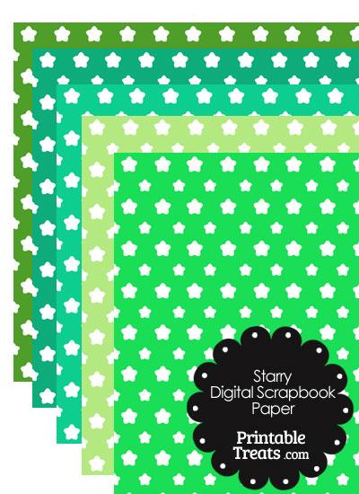 Green Background Star Digital Scrapbook Paper from PrintableTreats.com