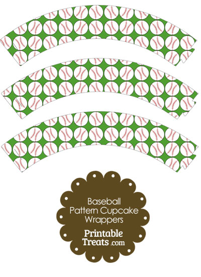 Green Baseball Pattern Cupcake Wrappers from PrintableTreats.com