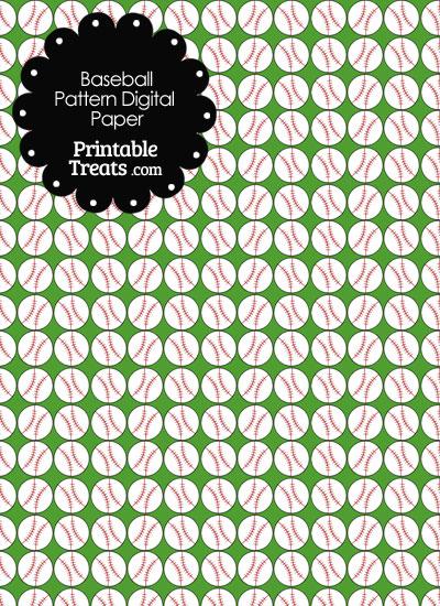 Green Baseball Pattern Digital Scrapbook Paper from PrintableTreats.com