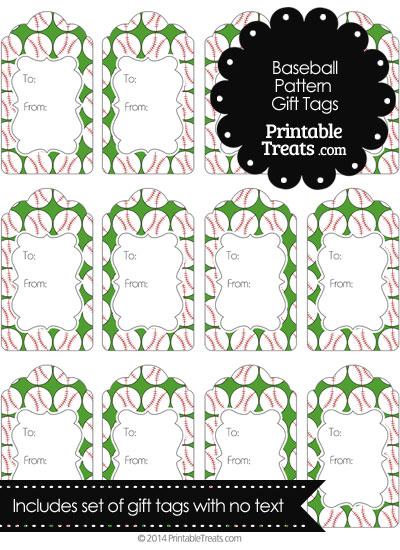 Green Baseball Pattern Gift Tags from PrintableTreats.com