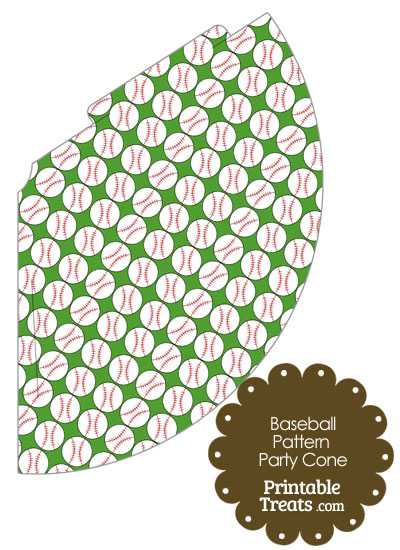 Green Baseball Pattern Party Cone from PrintableTreats.com