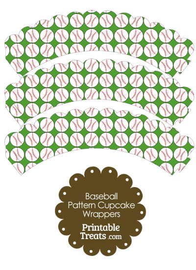 Green Baseball Pattern Scalloped Cupcake Wrappers from PrintableTreats.com