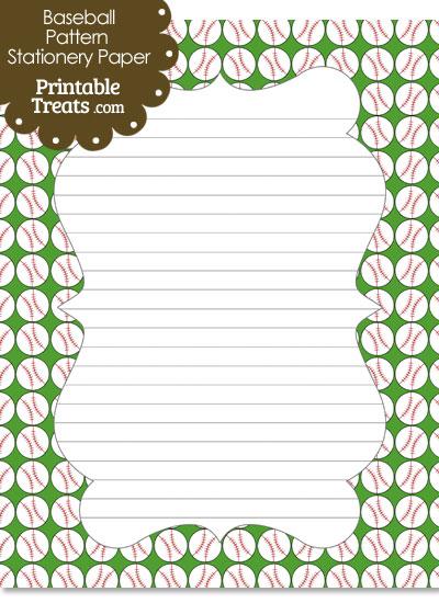 Green Baseball Pattern Stationery Paper from PrintableTreats.com