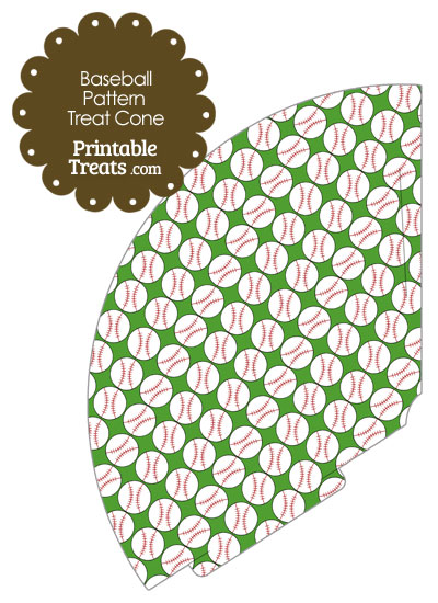 Green Baseball Pattern Treat Cone from PrintableTreats.com