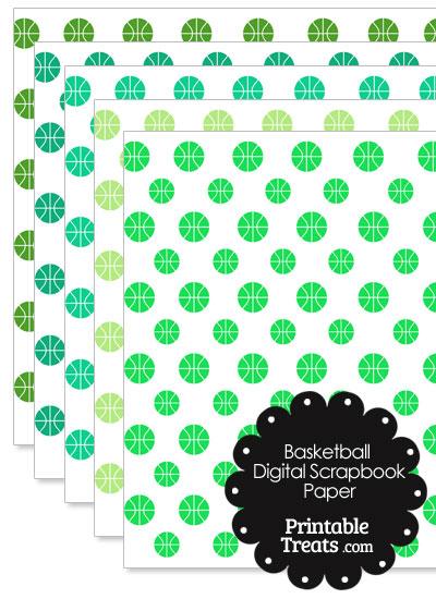 Green Basketball Digital Scrapbook Paper from PrintableTreats.com