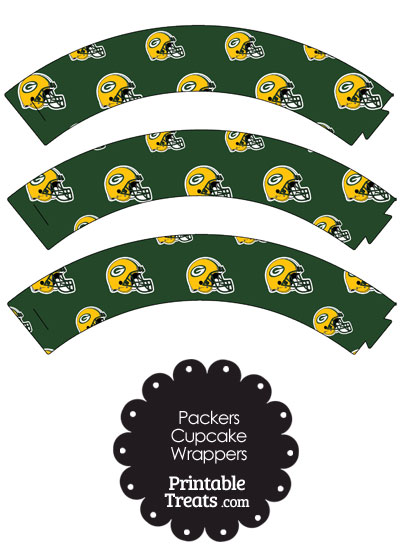 Green Bay Packers Football Helmet Cupcake Wrappers from PrintableTreats.com