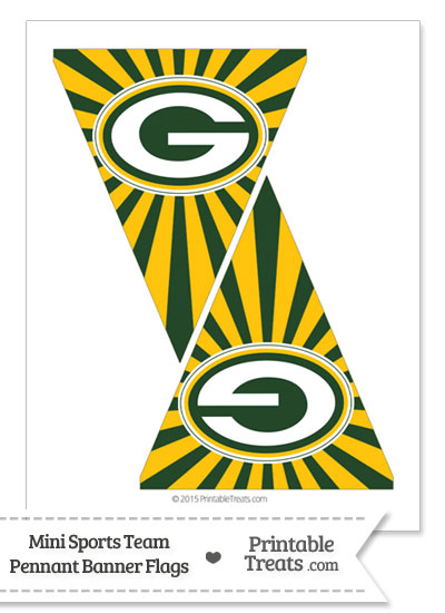 Green Bay Packers Mini Pennant Banner Flags from PrintableTreats.com