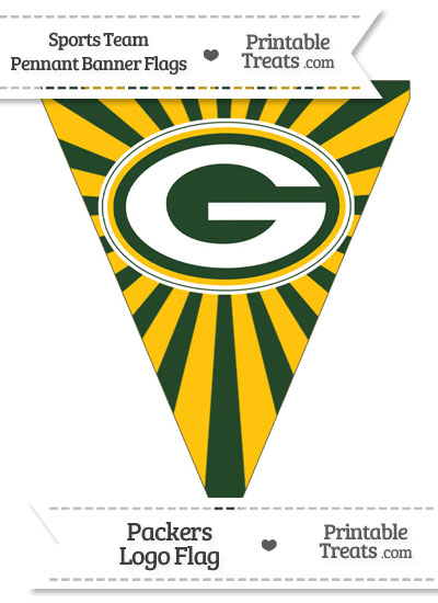 Green Bay Packers Pennant Banner Flag from PrintableTreats.com