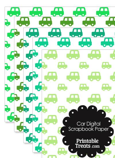 Green Car Digital Scrapbook Paper from PrintableTreats.com