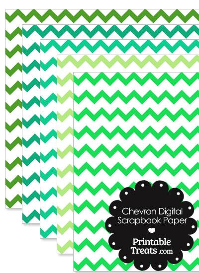 Green Chevron Digital Scrapbook Paper from PrintableTreats.com