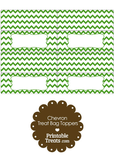 Green Chevron Treat Bag Toppers from PrintableTreats.com