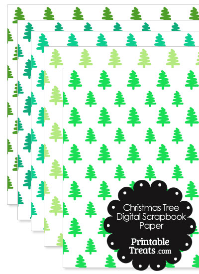 Green Christmas Tree Digital Scrapbook Paper from PrintableTreats.com