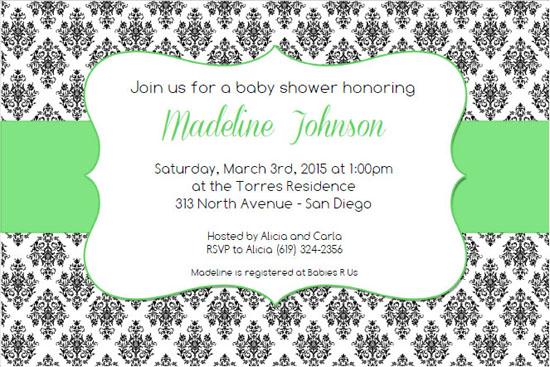 green damask baby shower invitation