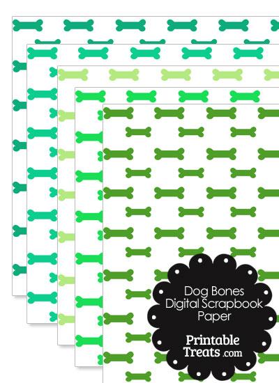Green Dog Bone Digital Scrapbook Paper from PrintableTreats.com
