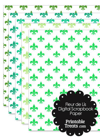 Green Fleur de Lis Digital Scrapbook Paper from PrintableTreats.com