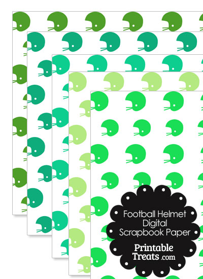 Green Football Helmet Digital Scrapbook Paper from PrintableTreats.com
