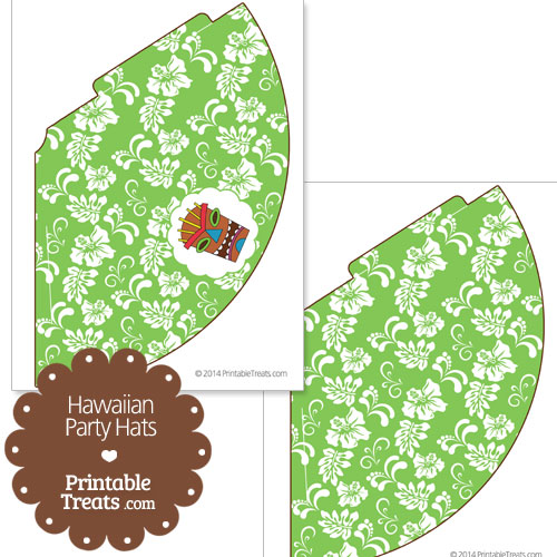 green Hawaiian party hat printable
