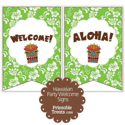 green Hawaiian party welcome sign