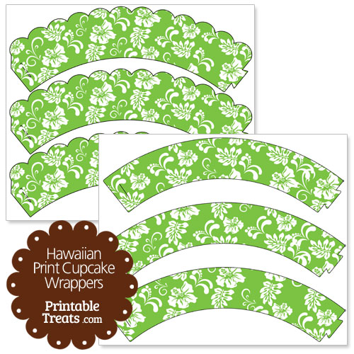 green hawaiian print cupcake wrappers