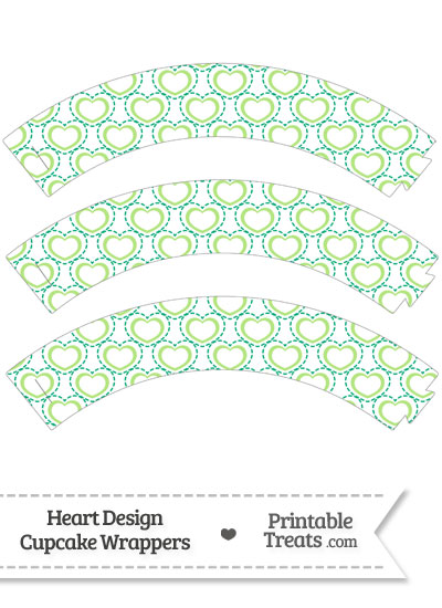 Green Heart Design Cupcake Wrappers from PrintableTreats.com