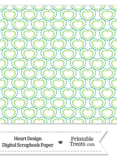 Green Heart Design Digital Scrapbook Paper from PrintableTreats.com