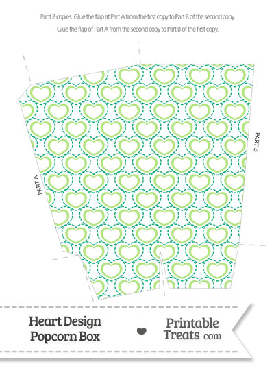 Green Heart Design Popcorn Box from PrintableTreats.com