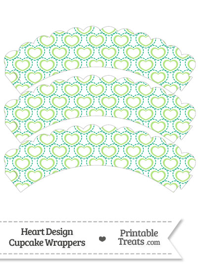 Green Heart Design Scalloped Cupcake Wrappers from PrintableTreats.com