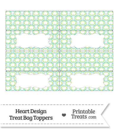 Green Heart Design Treat Bag Toppers from PrintableTreats.com