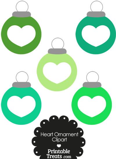 Green Heart Ornament Clipart from PrintableTreats.com