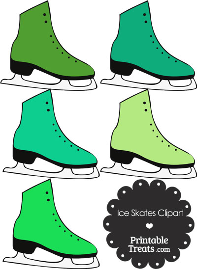 Green Ice Skates Clipart from PrintableTreats.com