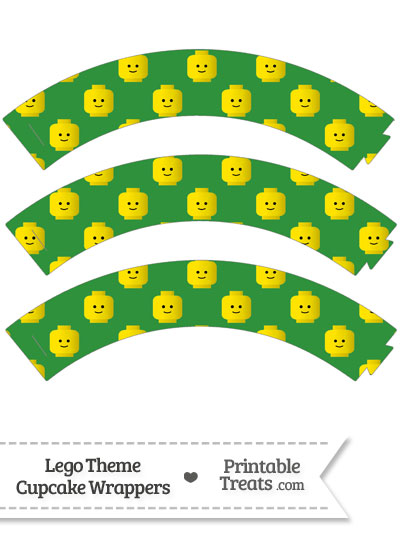 Green Lego Theme Cupcake Wrappers from PrintableTreats.com